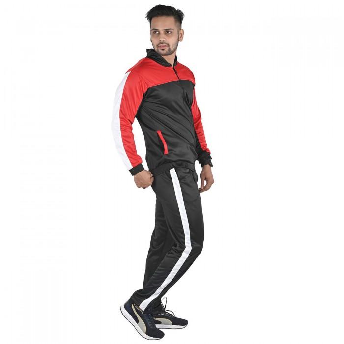 Men Black Color Red & White block Regular Fit Bio-Wash Lifestyle Tracksuit