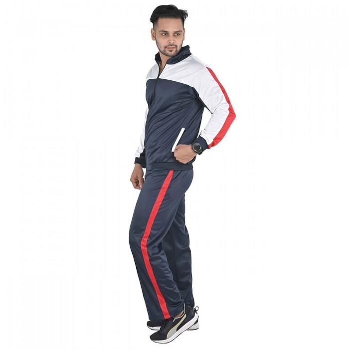 Men Black Color White & Red block Regular Fit Bio-Wash Lifestyle Tracksuit