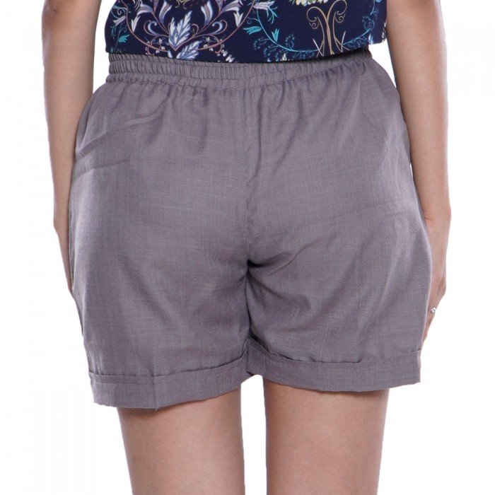 Dark Grey Cotton Shorts for Girls