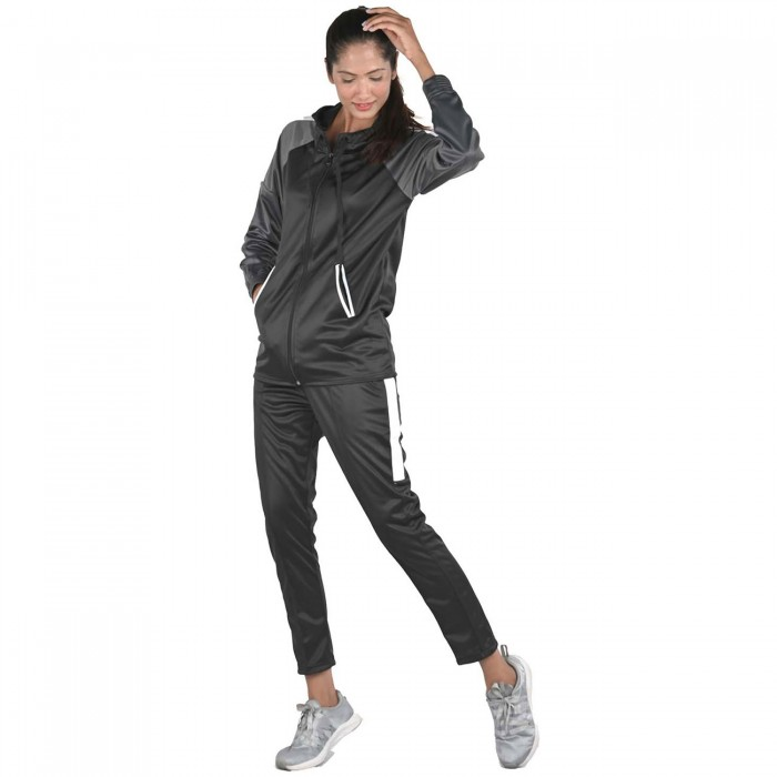 Women Black Color White block Regular Fit Bio-Wash Lifestyle Tracksuit
