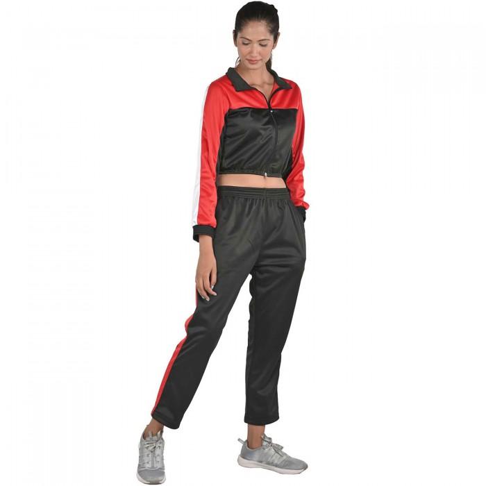 Women Black Color Red & White block Regular Fit Bio-Wash Lifestyle Tracksuit