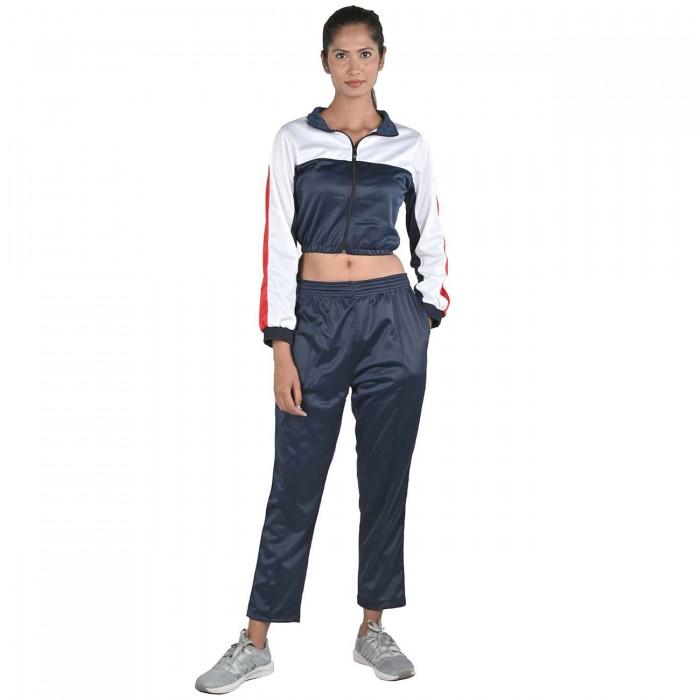 Women Black Color White & Red block Regular Fit Bio-Wash Lifestyle Tracksuit