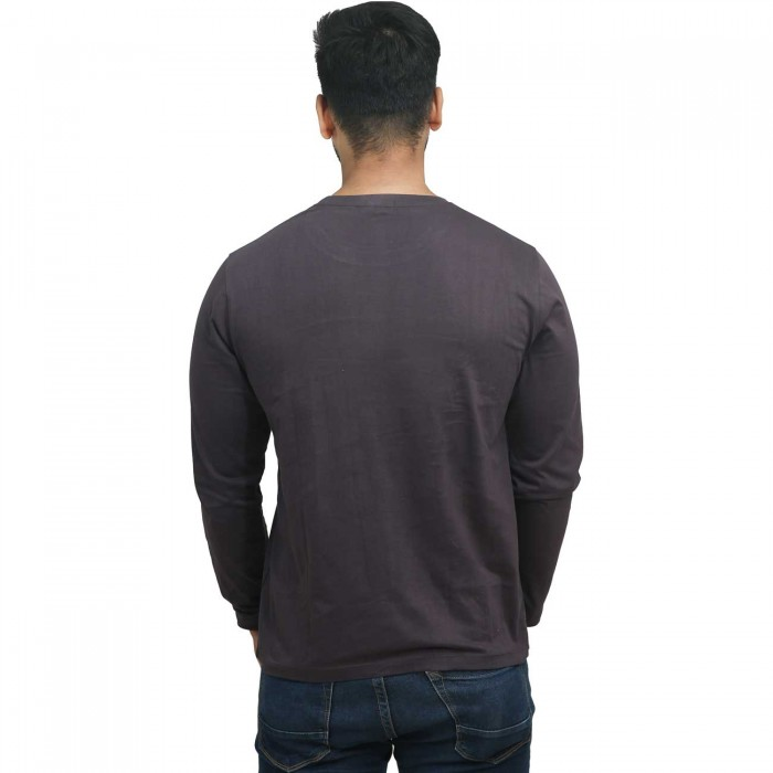 Dark Grey Round Neck Full Sleeves Cotton T-Shirt