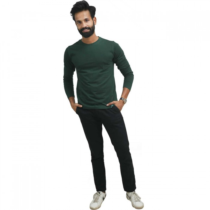 Green Round Neck Full Sleeves Cotton T-Shirt