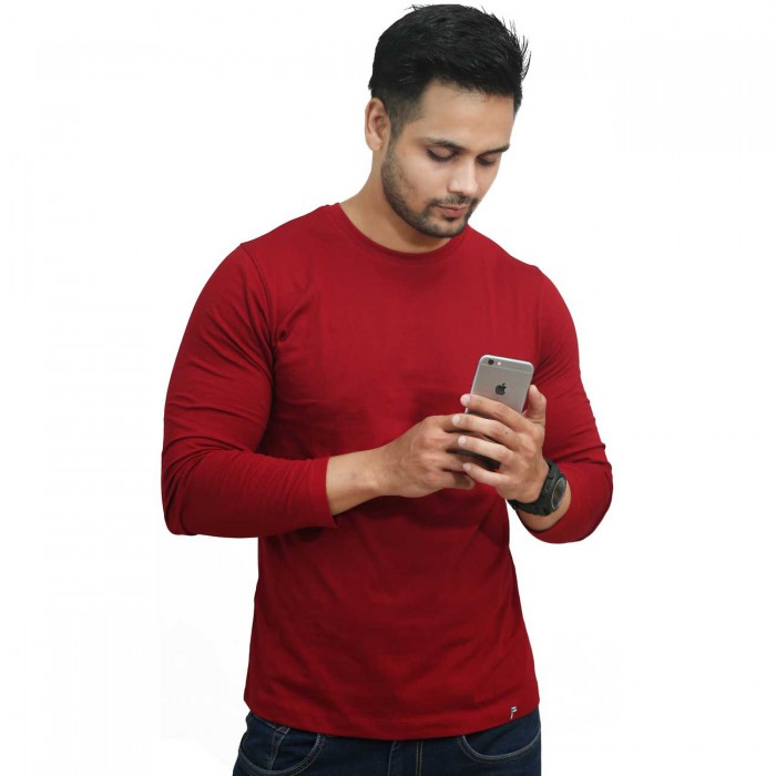Red Round Neck Full Sleeves Cotton T-Shirt