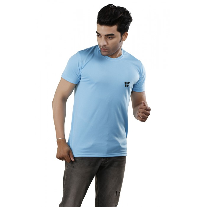 Ice Blue Round Neck T-Shirt
