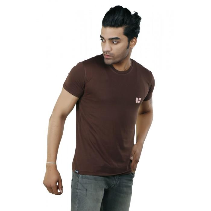 Brown Plain Round Neck T-Shirt