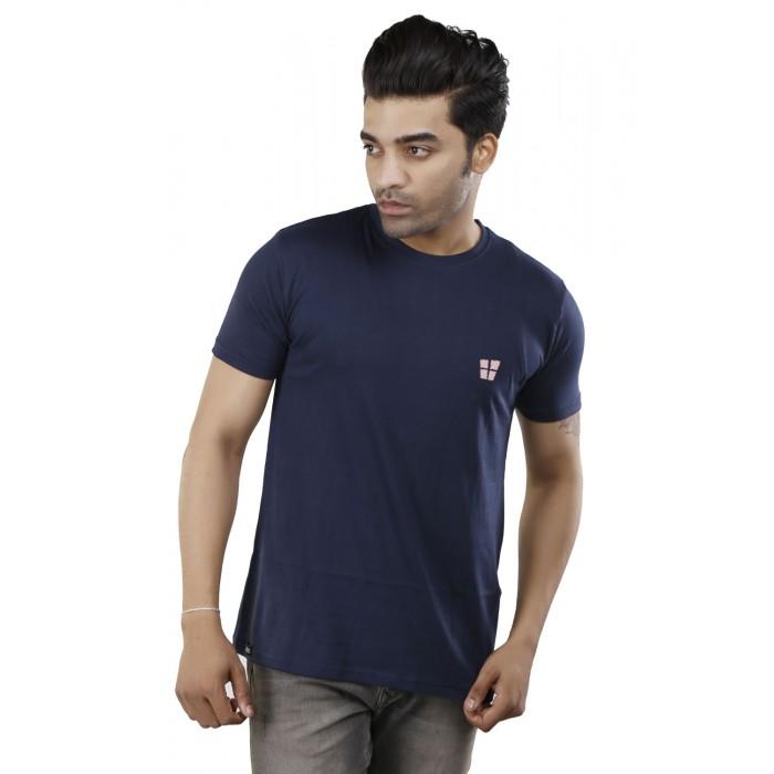 Navy Blue Plain Round Neck T-Shirt