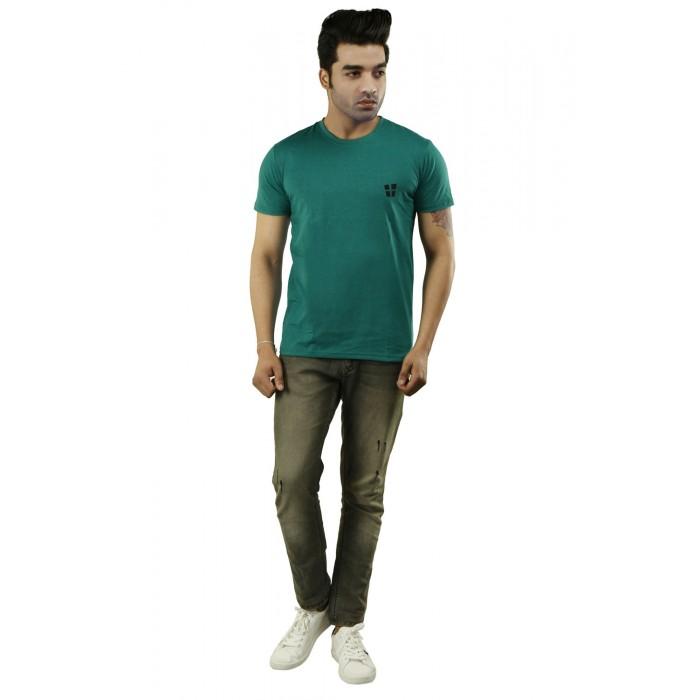 Bottle Green Plain Round Neck T-Shirt