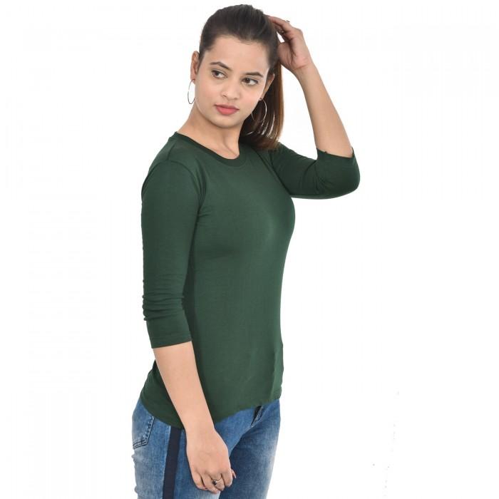 Green Women's 3/4 Sleeve Top