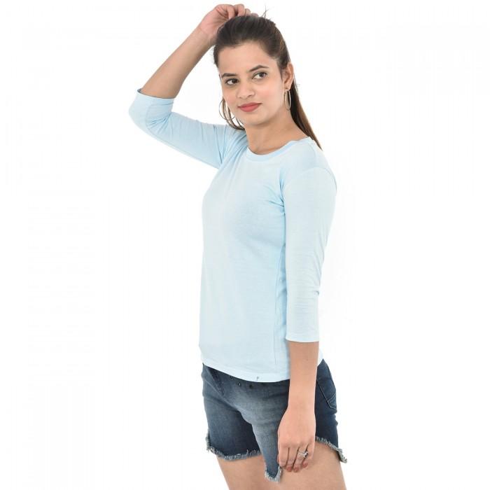 Ice Blue Women's 3/4 Sleeve Top