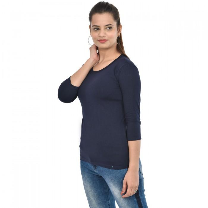 Navy Blue Women's 3/4 Sleeve Top