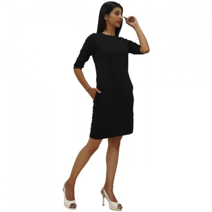 Black 3/4 Sleeve One Piece Dress