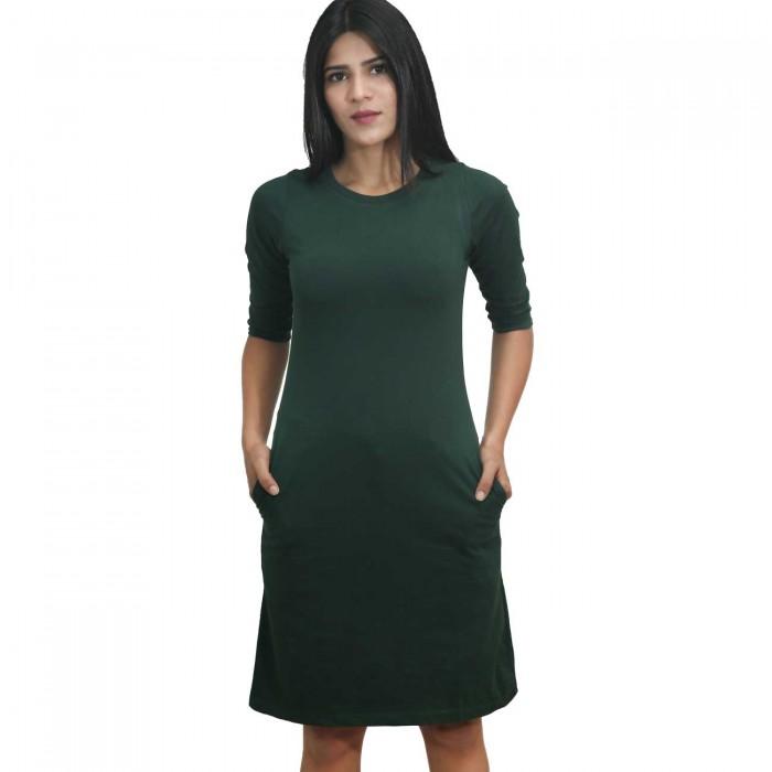 Green Women 3/4 Sleeve One Piece Dress