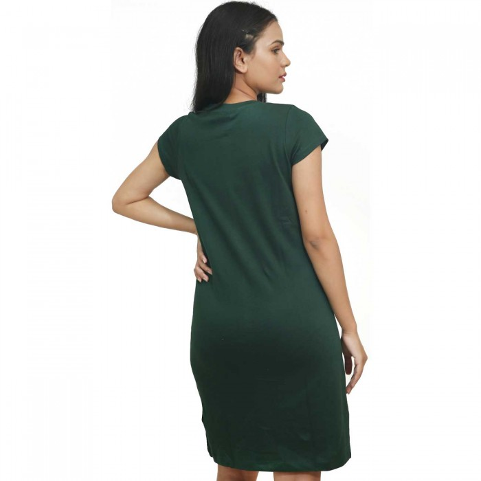 Green Women Half Sleeve One Piece Dress