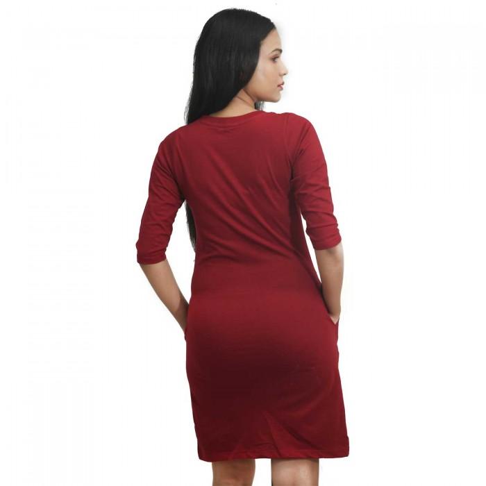 Maroon Women 3/4 Sleeve One Piece Dress