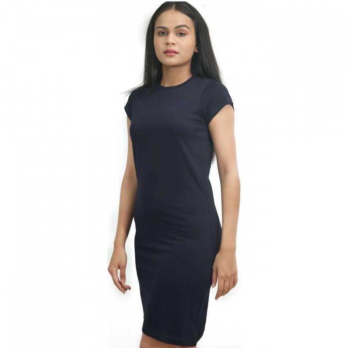 Navy Blue Women Half Sleeve One Piece Dress