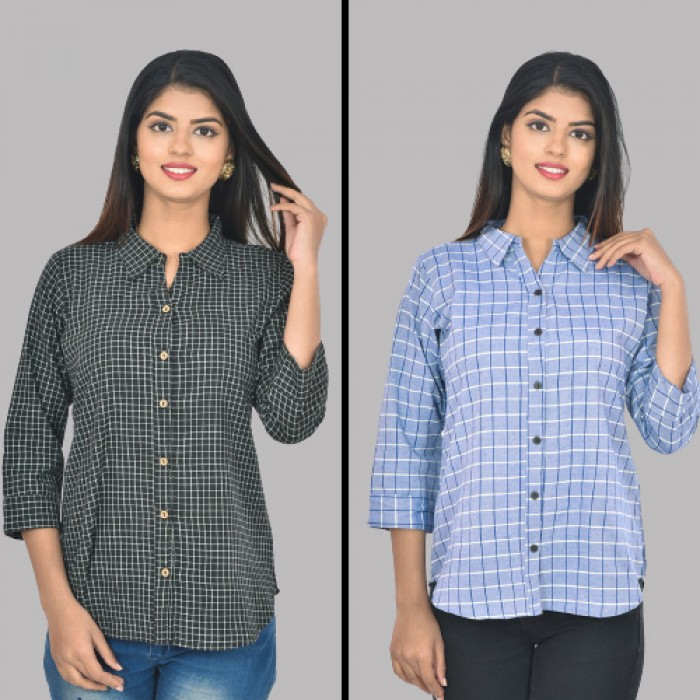 Women Black and Blue Collar Cotton Small Check Shirt Combo Pack