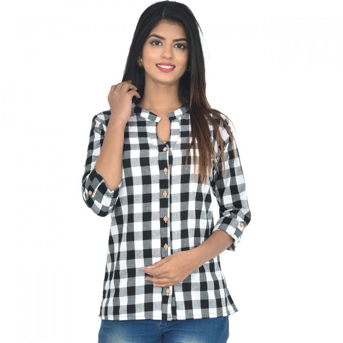 Women Black Cotton Check Shirt