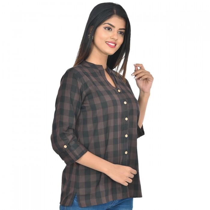 Women Black Coffee Cotton Check Shirt