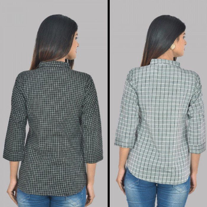 Women Black and Grey Collar Cotton small Check Shirt Combo Pack