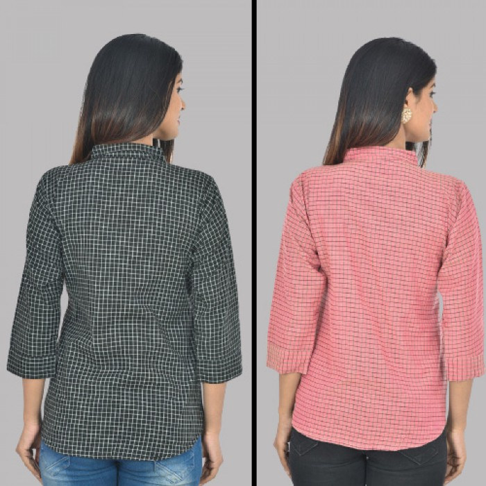 Women Black and Pink Collar Cotton small Check Shirt Combo Pack