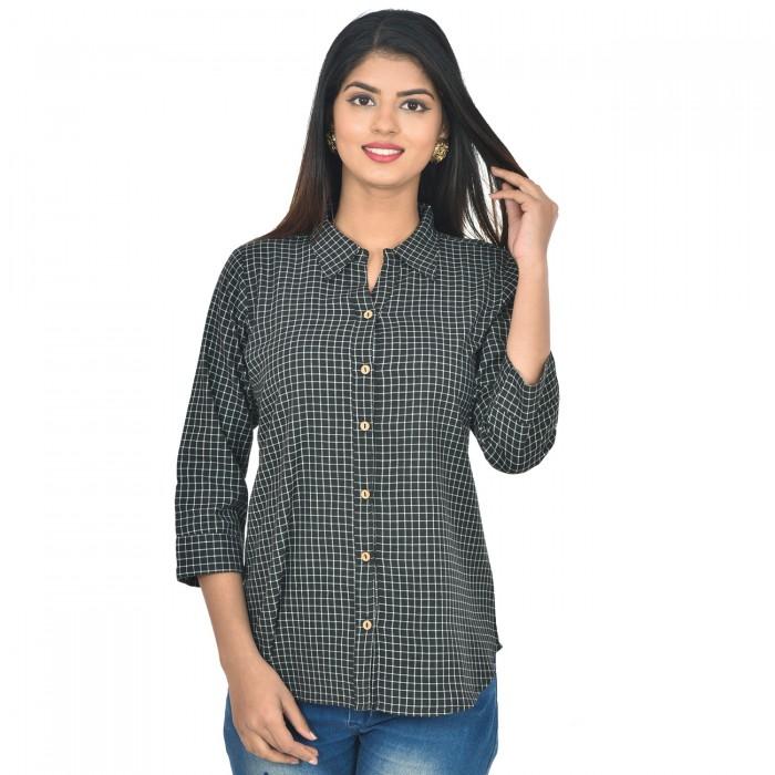 Women Black Collar Cotton Check Shirt