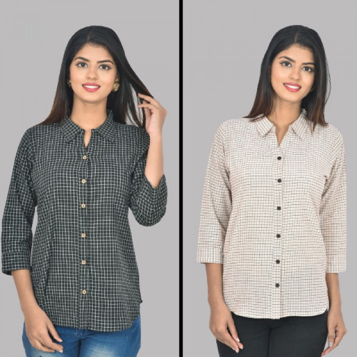 Women Black and White Collar Cotton small Check Shirt Combo Pack