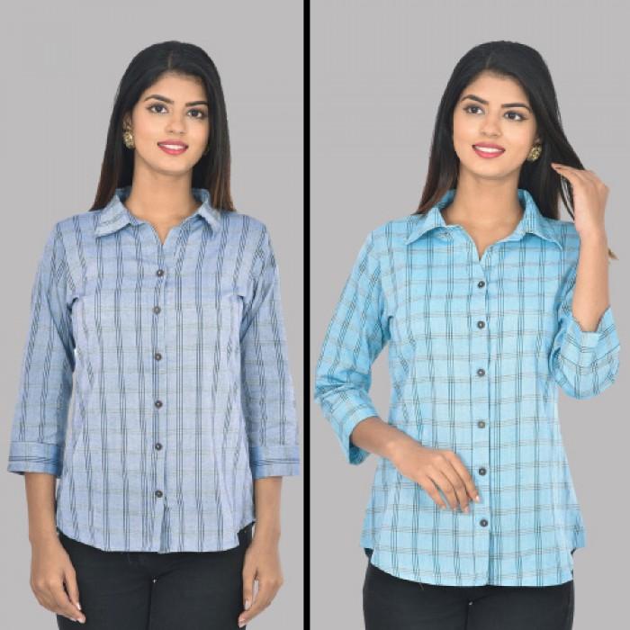 Women Blue And Light Blue Collar Cotton Check Shirt Combo Pack