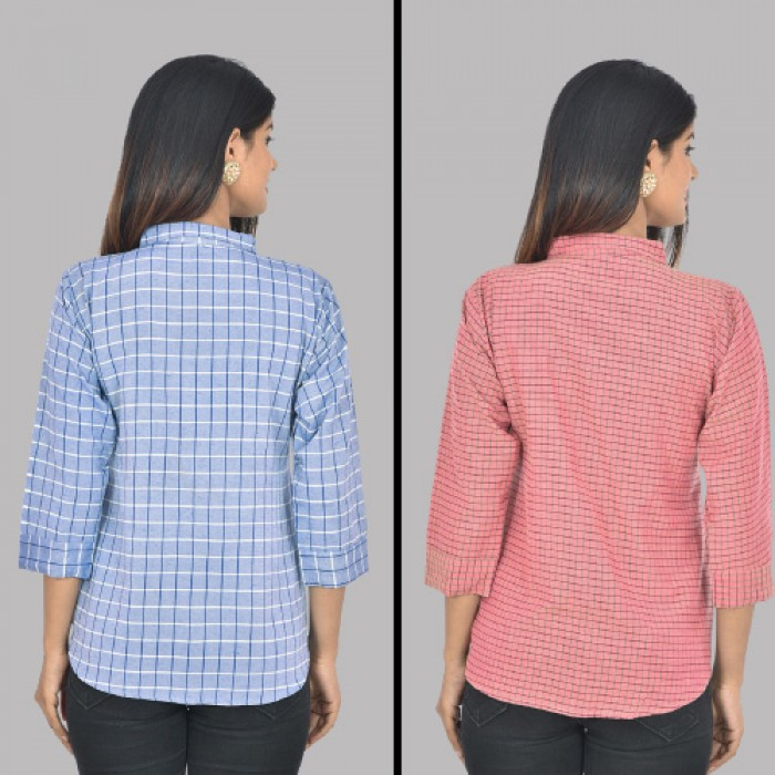 Women Blue and Pink Collar Cotton small Check Shirt Combo Pack