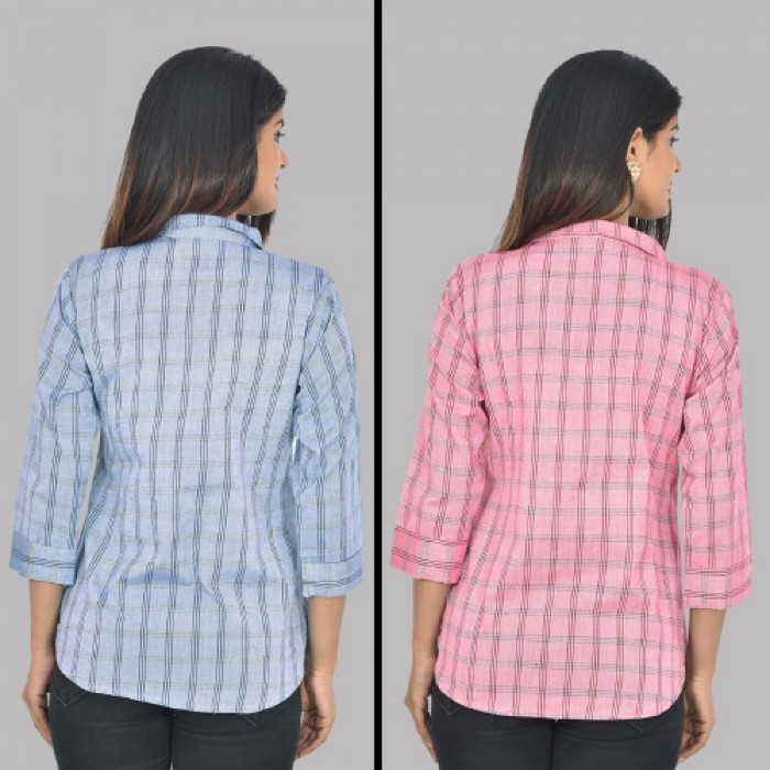 Women Blue And Pink Collar Cotton Check Shirt Combo Pack