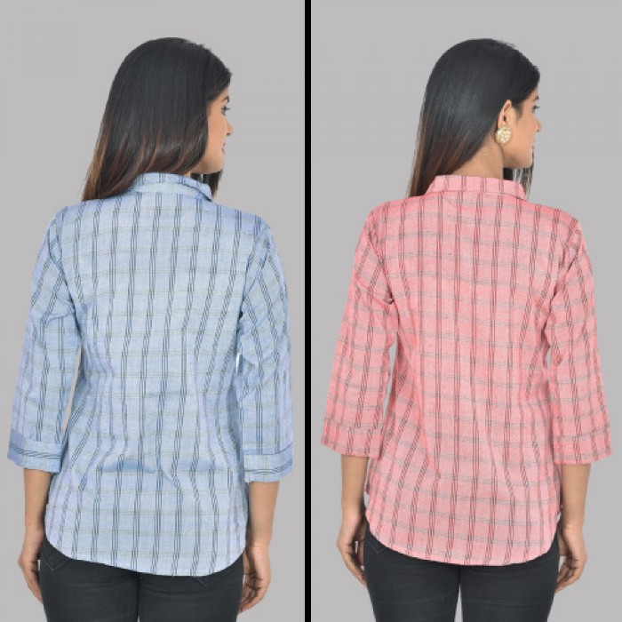 Women Blue And Red Collar Cotton Check Shirt Combo Pack