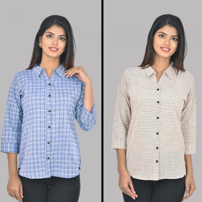 Women Blue and White Collar Cotton small Check Shirt Combo Pack