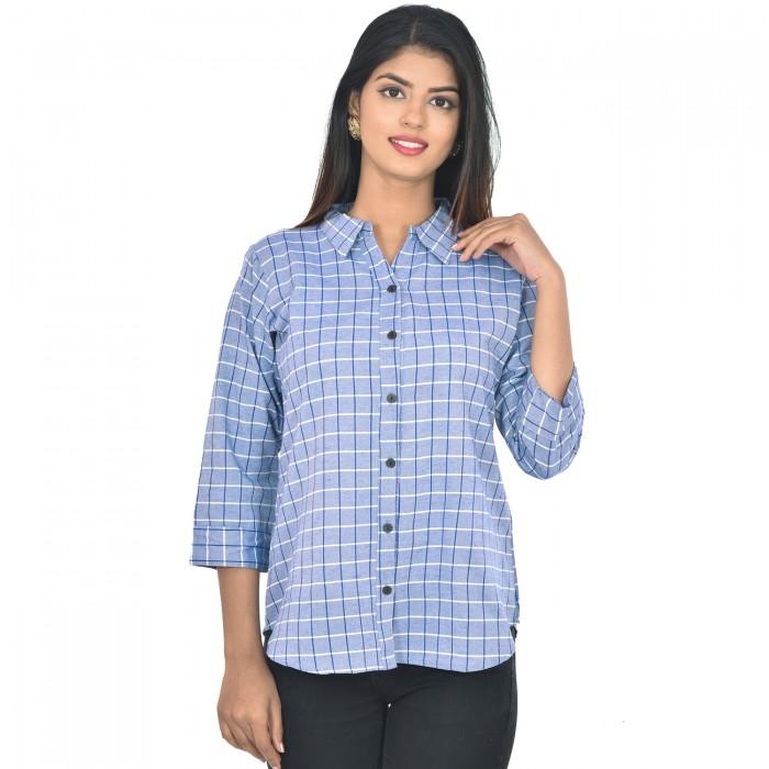 Women Blue Collar Cotton Check Shirt