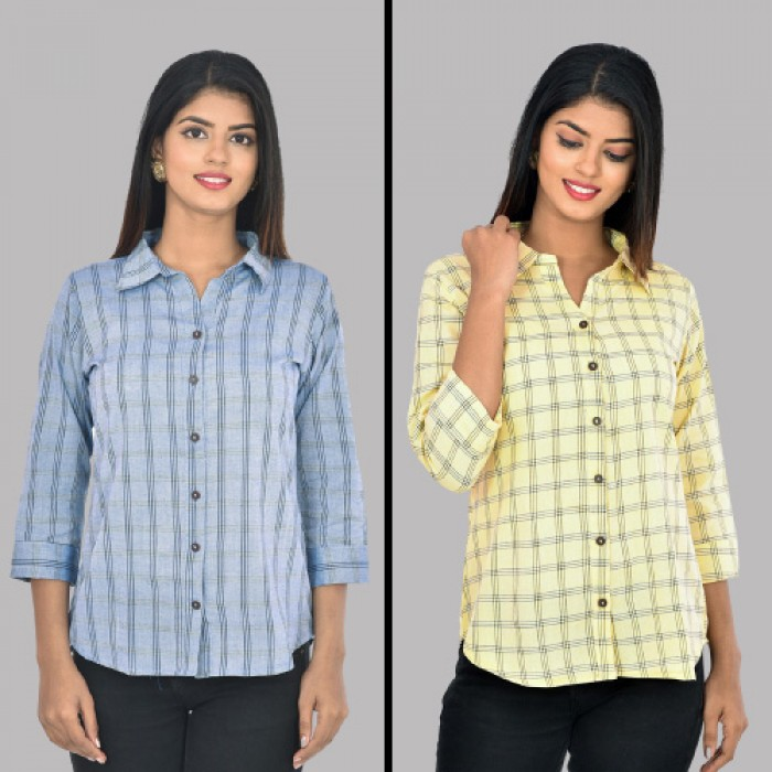 Women Blue And Yellow Collar Cotton Check Shirt Combo Pack