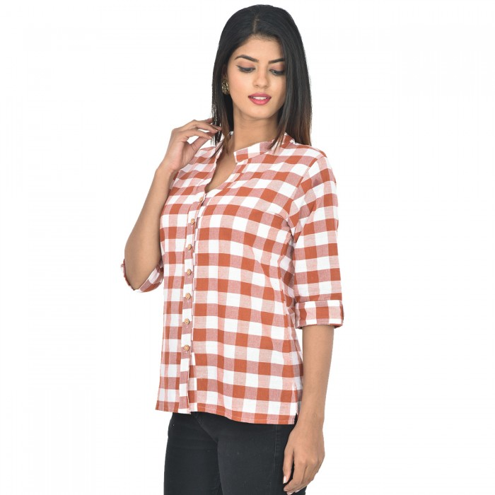Women Brown Cotton Check Shirt