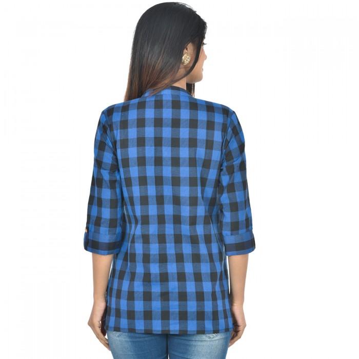 Women Dark Blue Cotton Check Shirt