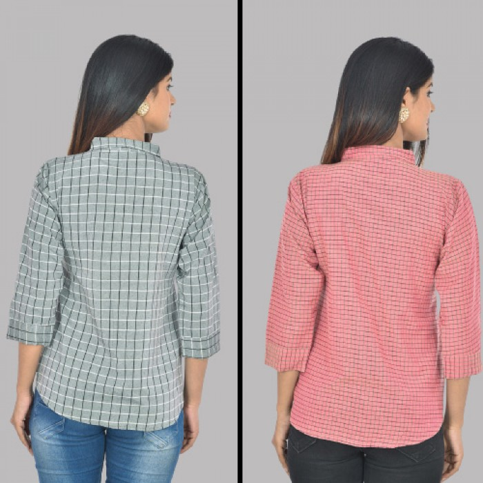 Women Grey and Pink Collar Cotton small Check Shirt Combo Pack