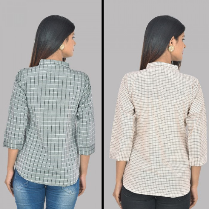 Women Grey and White Collar Cotton small Check Shirt Combo Pack