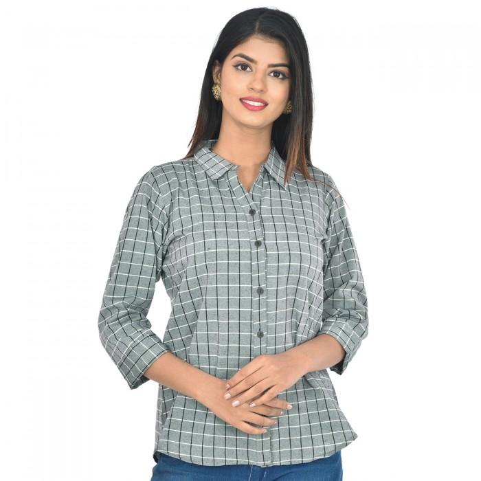 Women Grey Collar Cotton Check Shirt