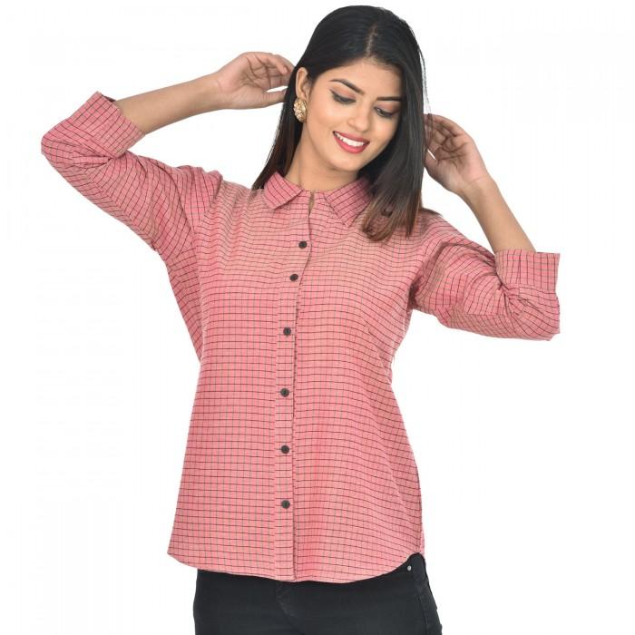 Women Light Pink Collar Cotton Check Shirt