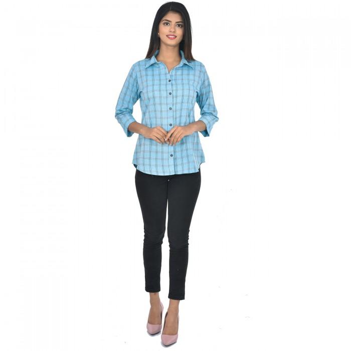 Women Light Blue Collar Cotton Check Shirt