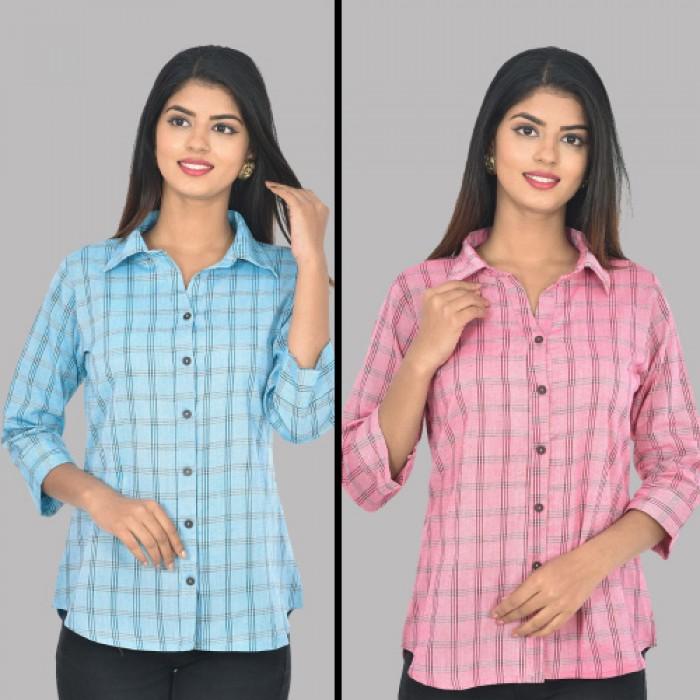 Women Light Blue And Pink Collar Cotton Check Shirt Combo Pack