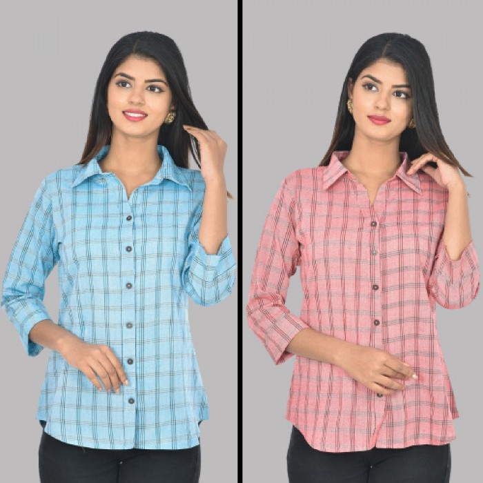 Women Light Blue And Red Collar Cotton Check Shirt Combo Pack
