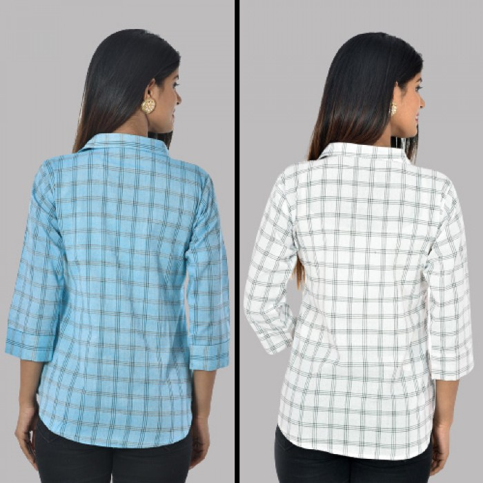 Women Light Blue And White Collar Cotton Check Shirt Combo Pack