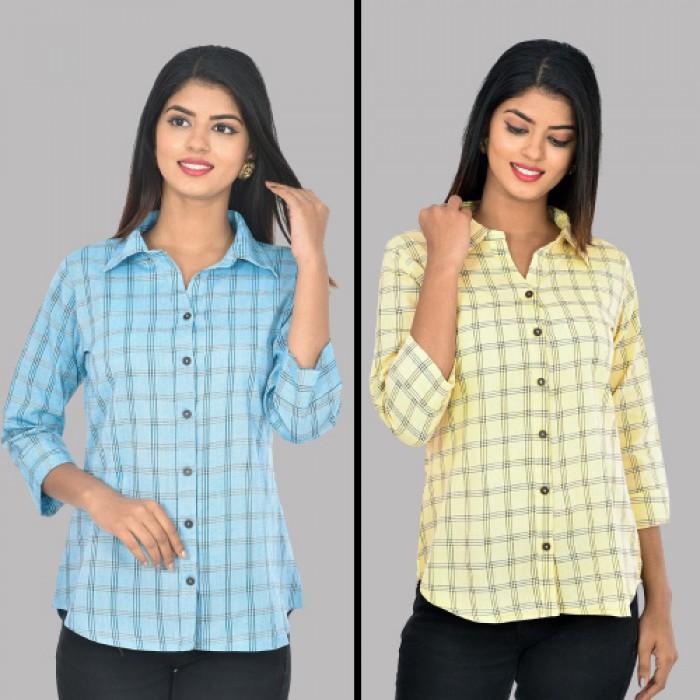 Women Light Blue And Yellow Collar Cotton Check Shirt Combo Pack