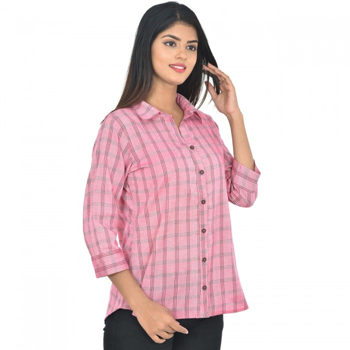 Women Pink Collar Cotton Check Shirt