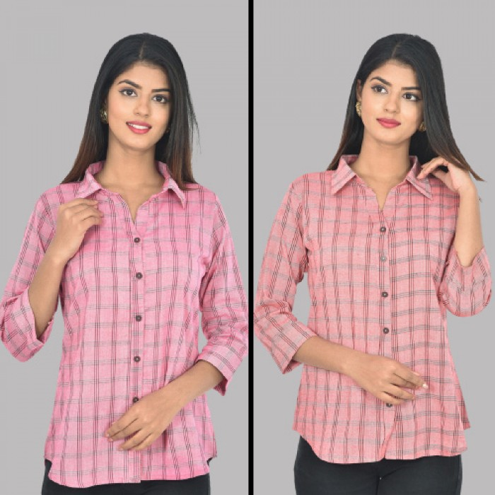 Women Pink And Red Collar Cotton Check Shirt Combo Pack