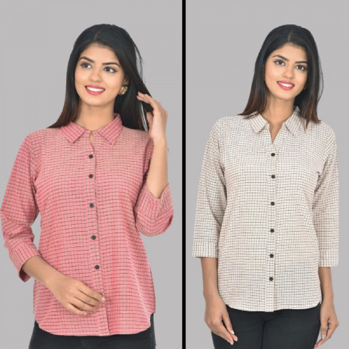 Women Pink and  White Collar Cotton small Check Shirt Combo Pack