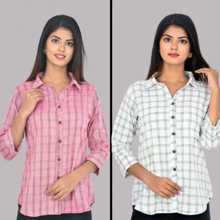Women Pink and White Collar Cotton Check Shirt Combo Pack